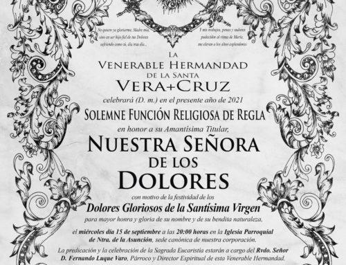 Solemne Función Religiosa de Reglaen honor a su Amantísima Titular, Ntra. Sra. de los Dolores,con motivo de la festividad de los Dolores Gloriosos de la Santísima Virgen
