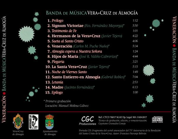 Carátula trasera CD Veneración