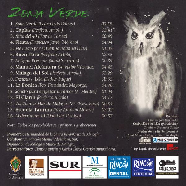 Carátula trasera CD Zona Verde